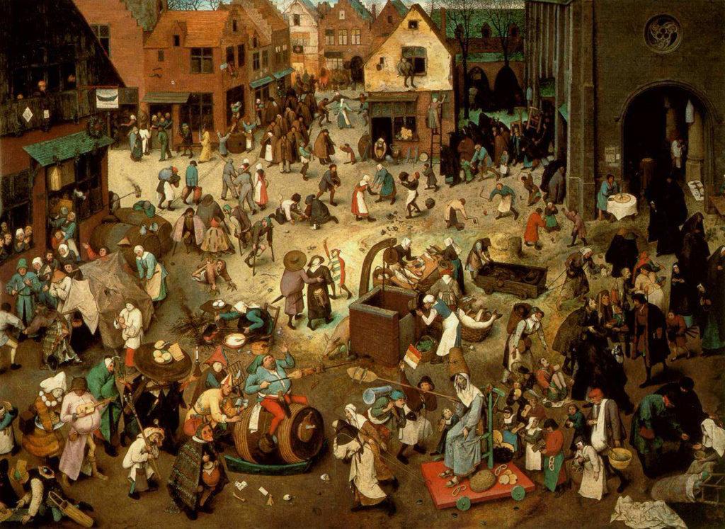 """ALT=""""Carnevale e Maschere - """"Lotta tra Carnevale e Quaresima"""" Pieter Bruegel"""""""