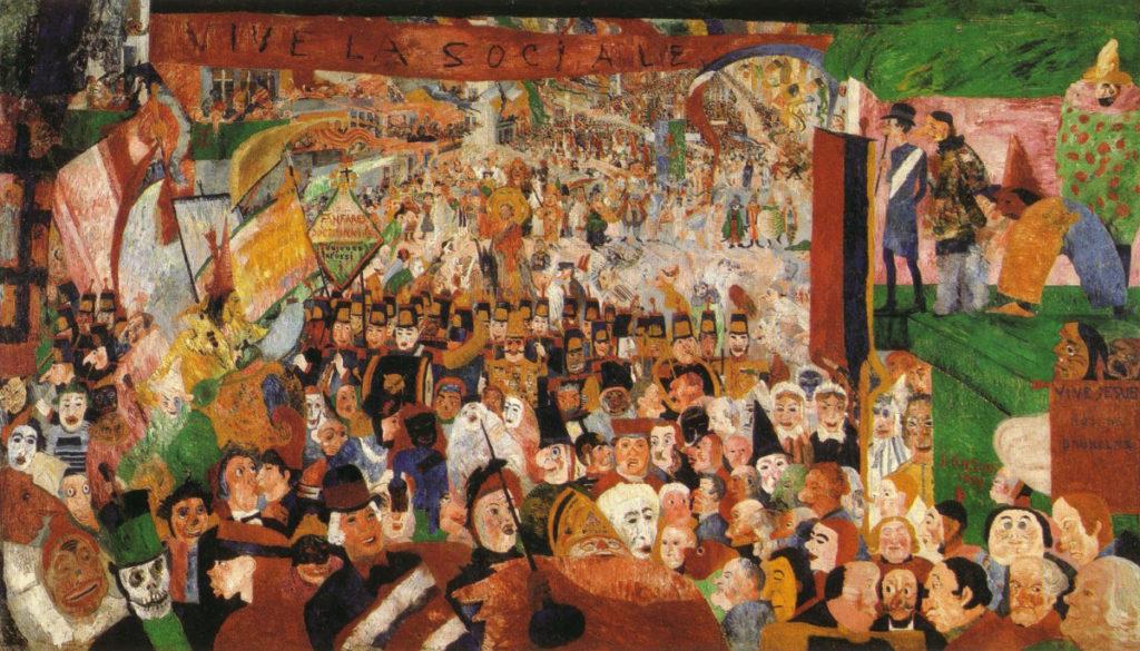 """ALT=""""Entrata di Cristo a Bruxelles - James Ensor - maschere"""""""