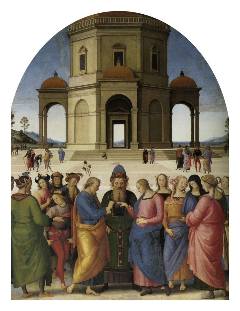 """ALT=""""Raffaello Perugino Sposalizio della vergine"""""""