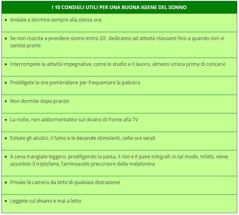sedativi naturali - tabella
