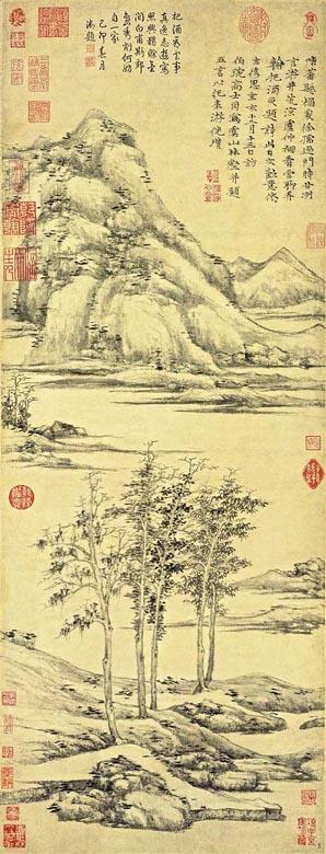 """Pittura cinese - """"Alberi e valli del Monte Yu"""" ( 虞山林壑圖 ) di Ni Zan"""