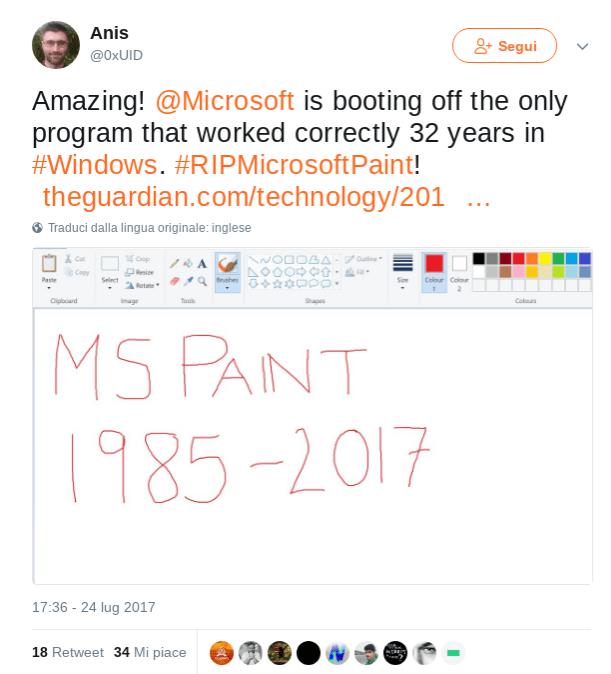 Paint: reazioni su Twitter