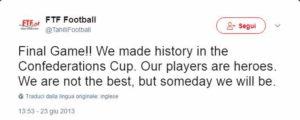 Tweet della Federazione di Tahiti al termine del torneo