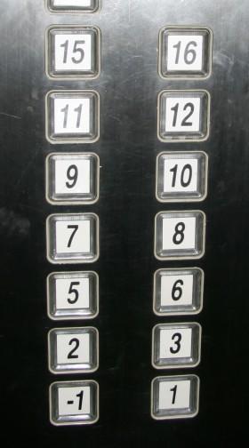 Scaramanzia in Cina: ascensore cinese senza i numeri 0, 4, 13 e 14