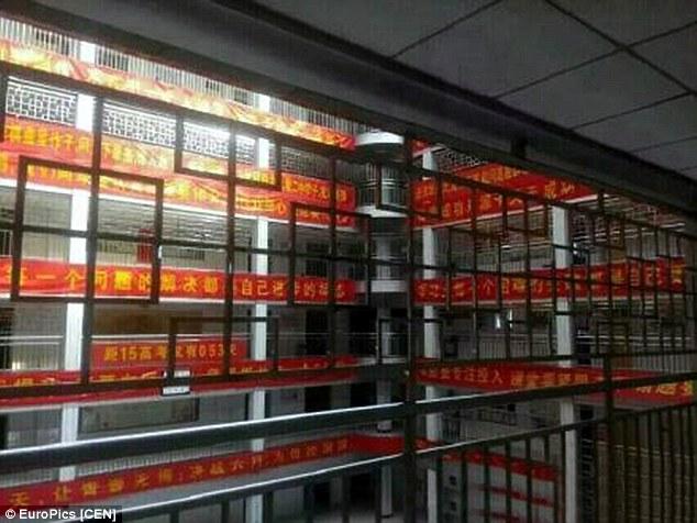 Barriera anti-suicidi in una scuola cinese.