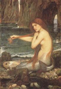 La Sirena - 1091 di Waterhouse pittore inglese di età vittoriana è uno dei suoi numerosissimi dipinti a tema mitologico. Lo stile preraffaellita, la bellezza della sirena che si pettina i lunghi capelli, il mare leggermente inquietante sullo sfondo rendono il quadro affascinante