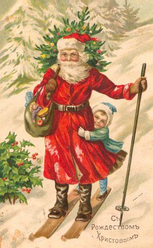 Nonno Glielo e la fanciulla di giaccio in una tipica cartolina natalizia