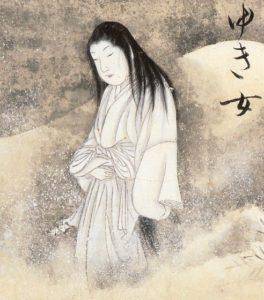 Rappresentazione in bianco e nero di una Yuki-onna eseguita da Sawki Suuhi
