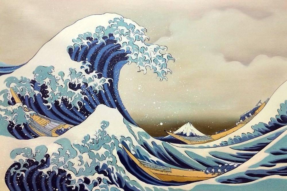 """ALT=""""Hiroshige Hokusai La grande onda di Kanagawa."""""""