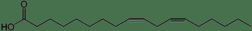 Oli per friggere - PUFA: struttura chimica dell'acido linoleico, costituito da uno scheletro carbonioso a 18 atomi con due doppi legami (Credits: Wikipedia).