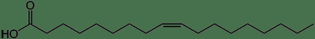 Oli per friggere - Oli per friggere - struttura chimica dell'acido stearico, costituito da uno scheletro carbonioso a 18 atomi e privo di insaturazioni.