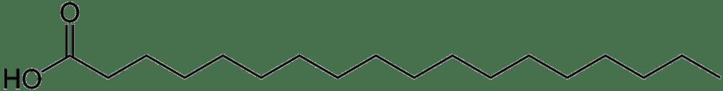 Oli per friggere - struttura chimica dell'acido stearico, costituito da uno scheletro carbonioso a 18 atomi e privo di insaturazioni.