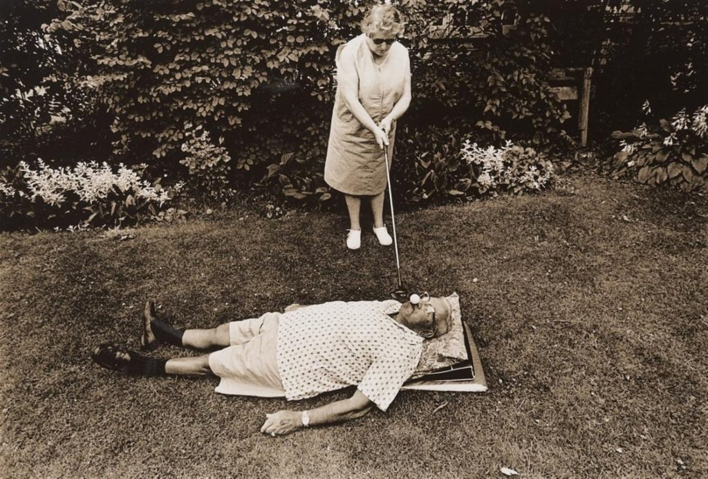©Les Krims, Mrs. Braverman, an early feminist, teeing golf balls in her husband's mouth, Rochester, New York , 1969.