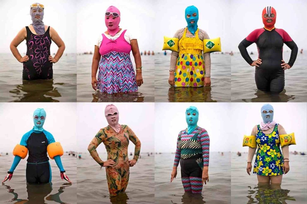 Abbronzatura in Cina: facekini e costume integrale