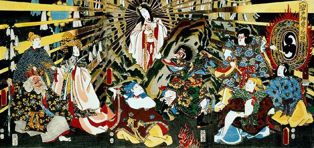 Sole - Amaterasu esce dalla caverna - dipinto di Kunisada