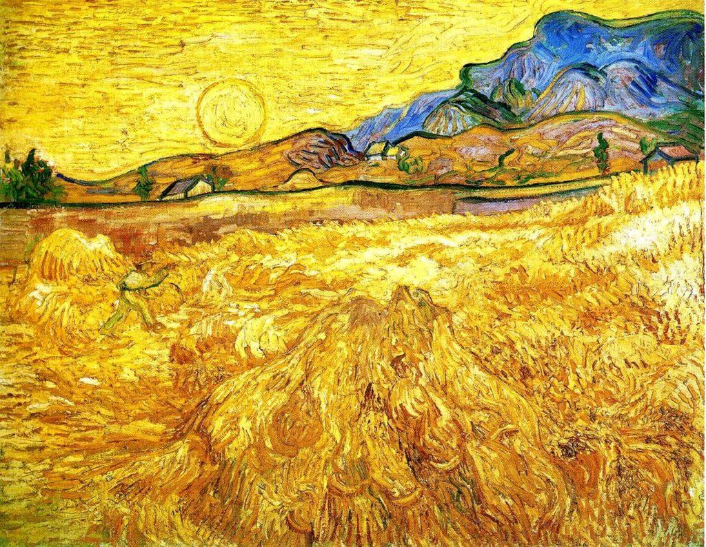 simbolo del sole - Campo di grano con mietitore - Vincent Van Gogh, 1889