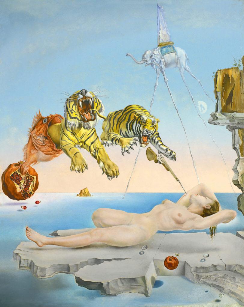 """surrealismo - """"Sogno causato dal volo di un'ape intorno a una melagrana un attimo prima del risveglio"""""""