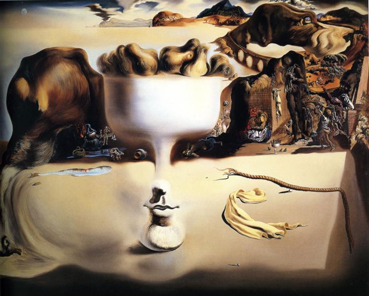 """surrealismo e Dalì - """"Apparizione del volto e del piatto di frutta sulla spiaggia"""""""