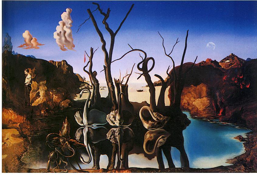 """surrealismo - """"Cigni che riflettono elefanti"""""""