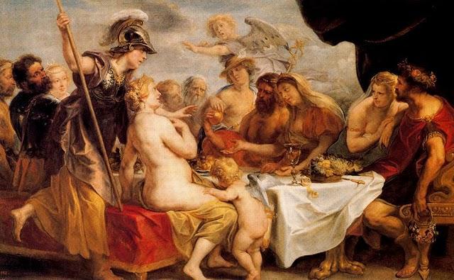 Pomo d'oro - Dipinto le nozze di Peleo e Teti