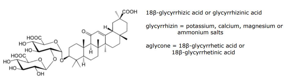 Liquirizia - struttura dell'acido 18-beta-glicirrizico