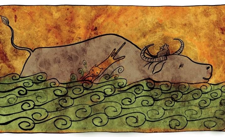 Zodiaco cinese - Il topo spinge il gatto in acqua durante la grande corsa