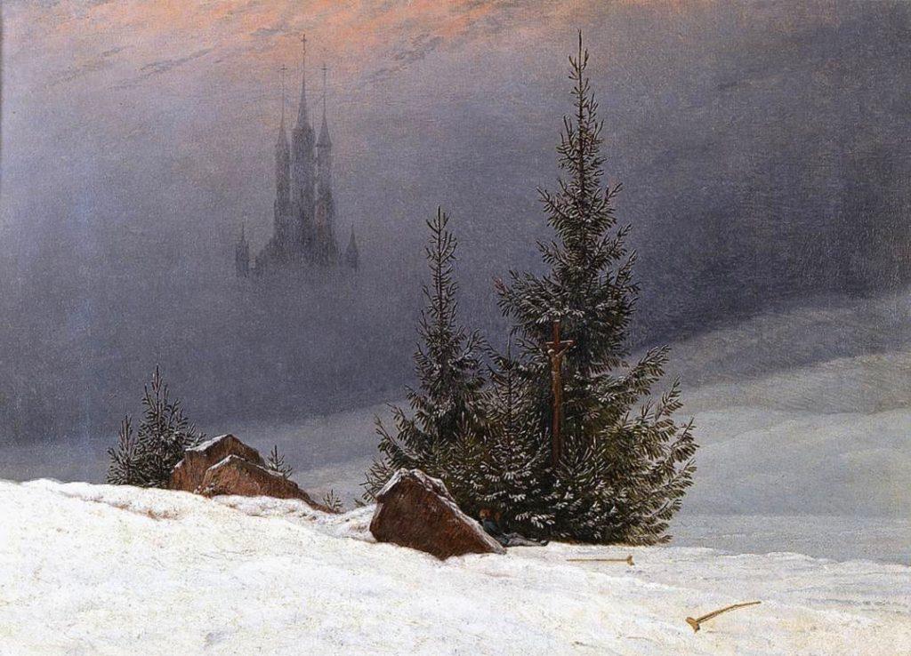 "ALT=""Winter Landescape with church Friedrich"""