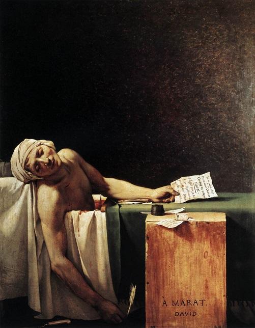 """ALT=""""arte incompiuta - La morte di Marat - Jean Luois David"""""""