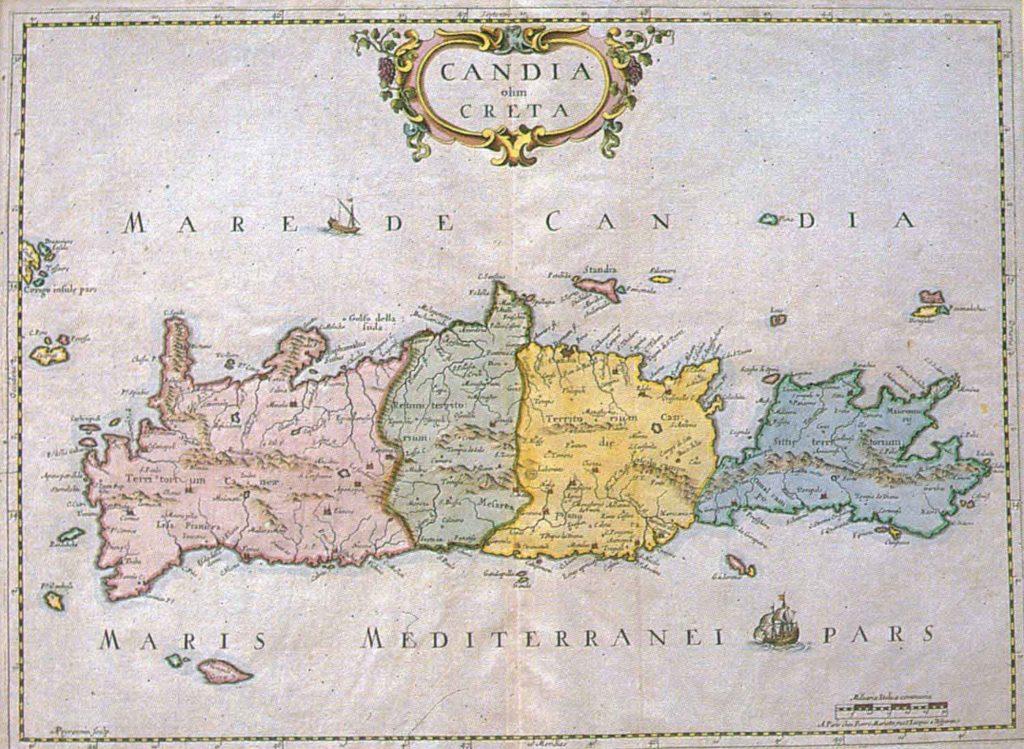 Cartina di Creta di epoca veneziana