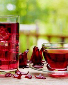 Karkadè - fiori e infuso in tazza e bicchiere