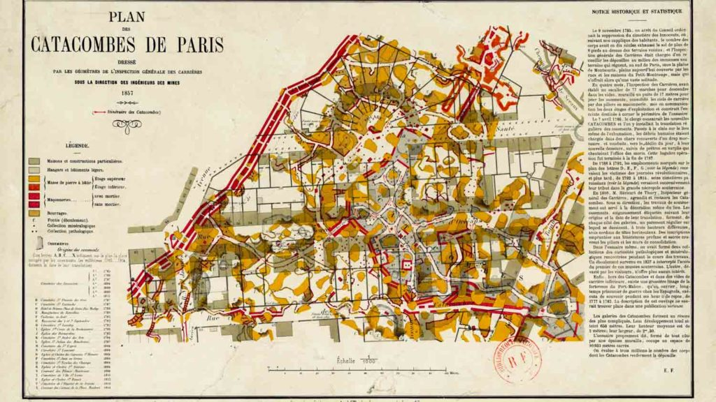 Mappa Catacombe del 1857 Parigi