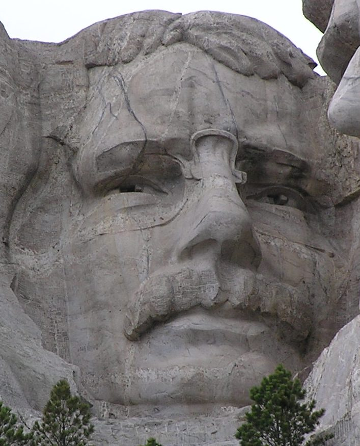 Il volto di Theodore Roosevelt scolpito nella pietra.