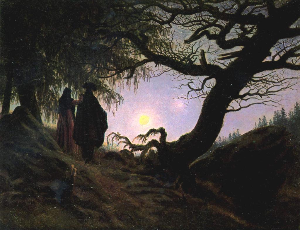 """ALT=""""Un uomo e una donna davanti alla luna"""""""
