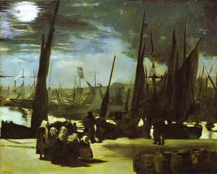 """ALT=""""Chiaro di luna al porto di Boulogne"""""""