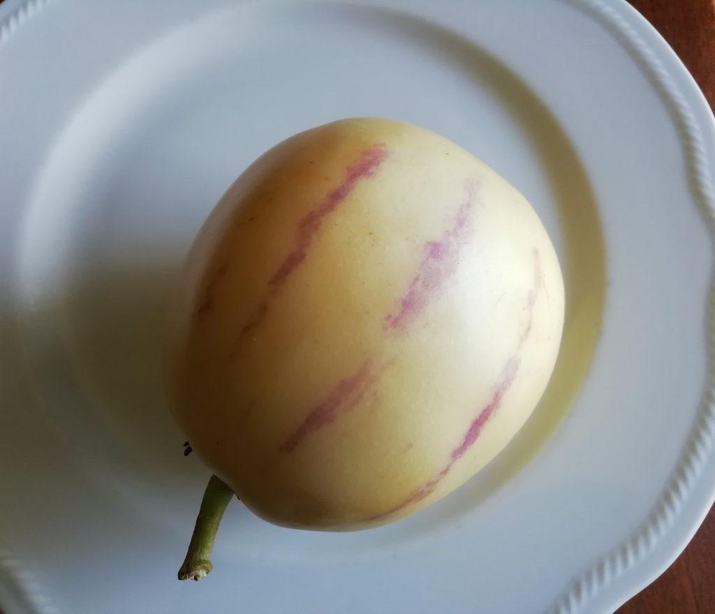 Pepino maturo con striature viola sul piatto