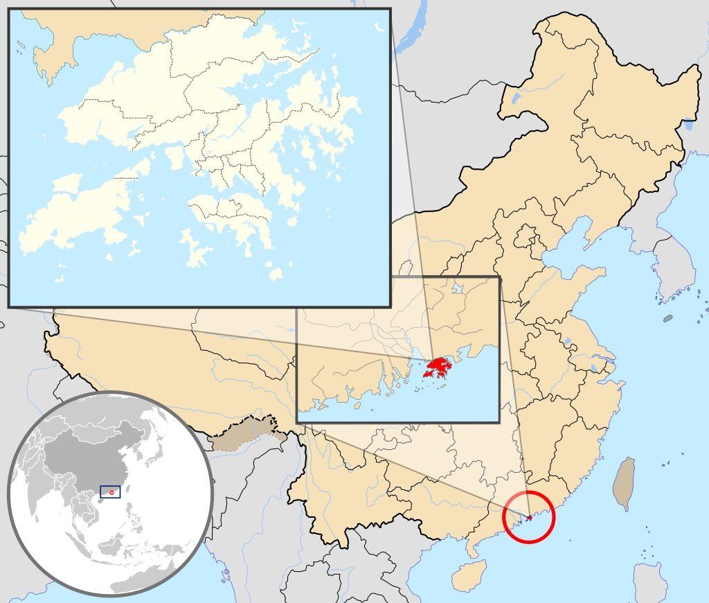 Posizione della Regione di Hong Kong rispetto alla Cina continentale