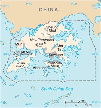 Cartina della regione di Hong Kong