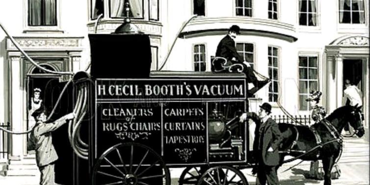 Storia degli elettrodomestici: Aspirapolvere trainato da cavalli