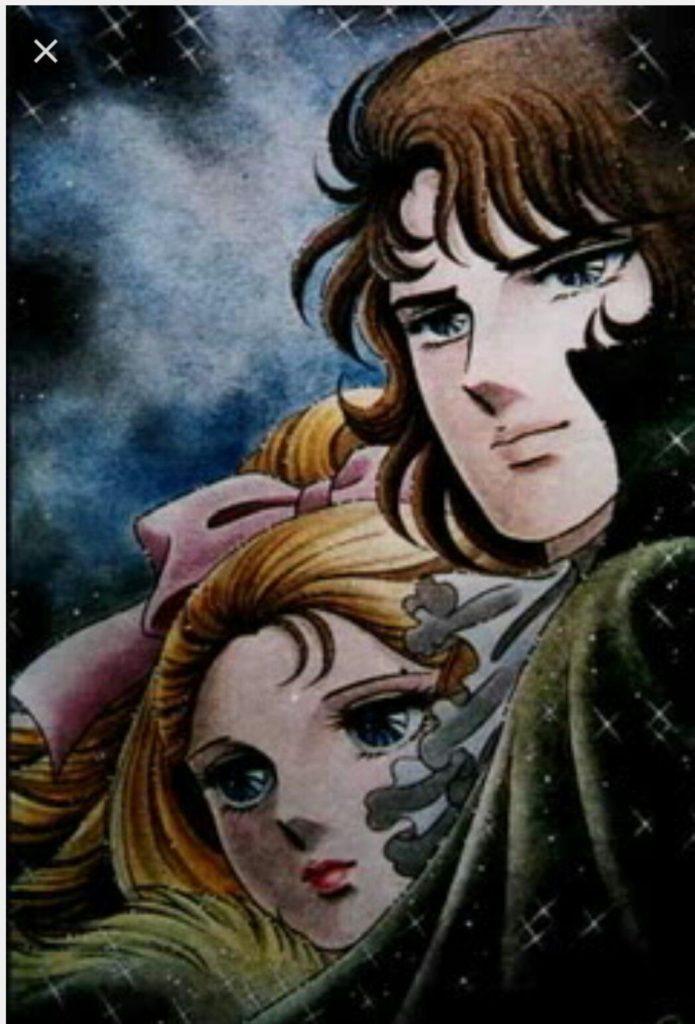 Maria Antonietta e il conte Hans Axel von Fersen in una scena dell'anime Lady Oscar, di Riyoko Ikeda, 1979.