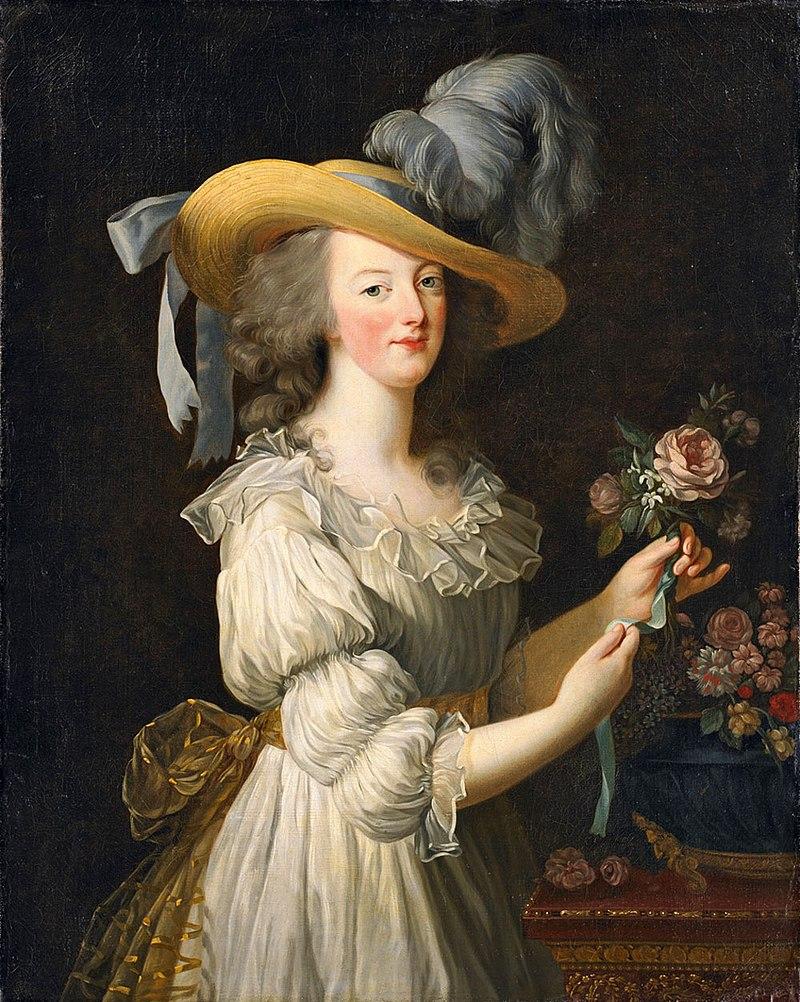 Maria Antonietta in abito di mussola bianca e cappello di paglia (Elizabetb Vigée Le Brun).