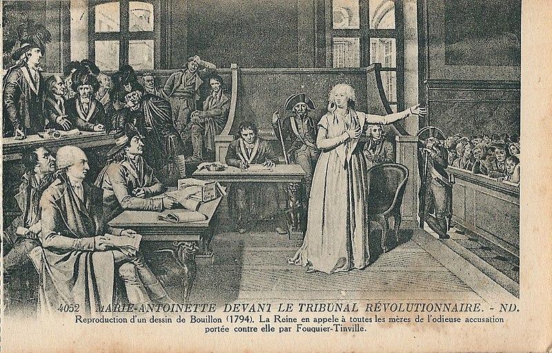 Raffigurazione del processo a Maria Antonietta, 1794.