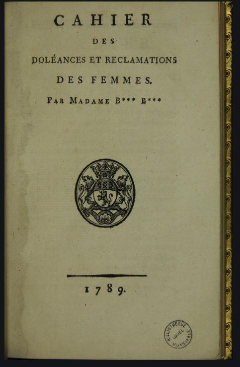 Diritti delle donne_ prima pagina dei Cahier de Doléances des femmes.