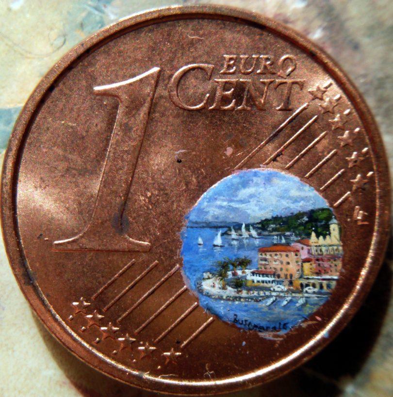 Stefano Busonero - Paesaggio su moneta da 1 centesimo
