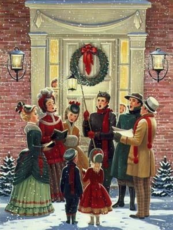 Christmas carolers in epoca vittoriana