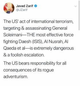 Nuova guerra tra Usa - Iran - Tweet di Javad Zarif