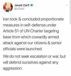 Nuova guerra tra USA e Iran - Altro tweet di Javad Zarif