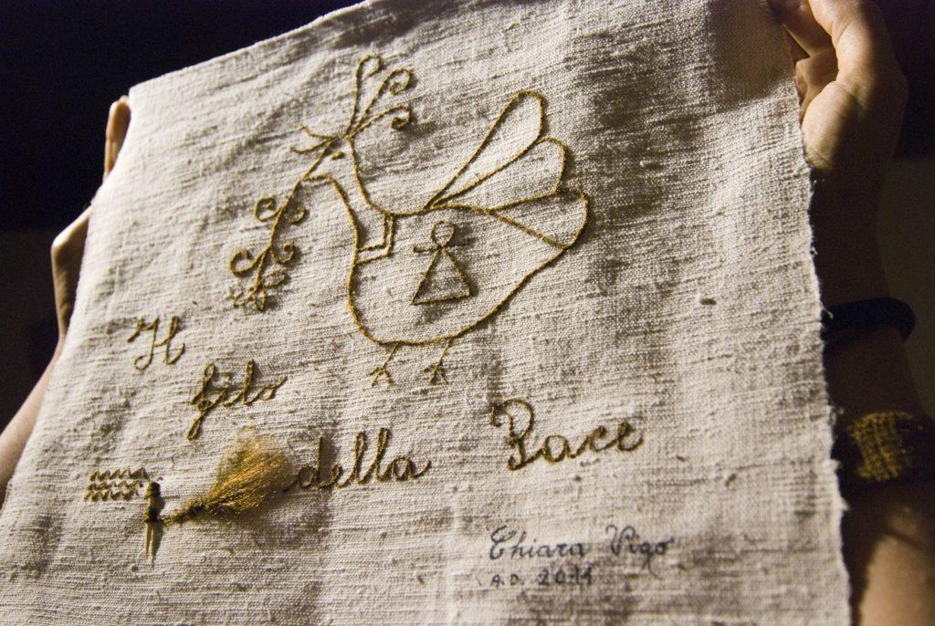 Una delle bellissime opere della tessitrice