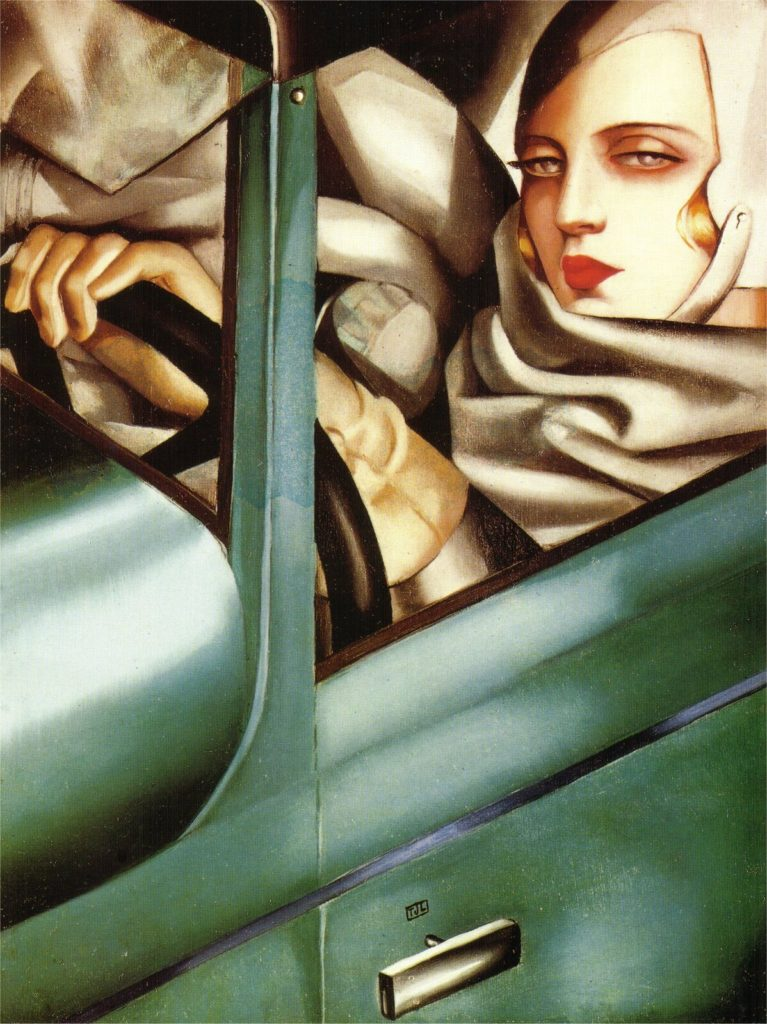 Autoritratto sulla Bugatti verde
