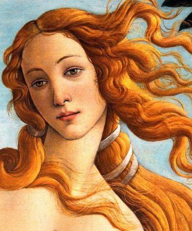 """Rinascimento - """"La nascita di Venere"""" (Botticelli), particolare del volto di Venere."""