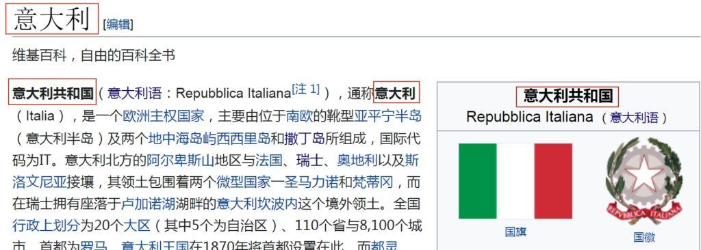 Pagina dell'Italia (意大利) - Cina continentale